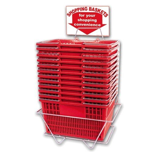 Plastic Shopping Baskets - Durable Red Plastic with Stand and Sign - Set of 12 Plastic Baskets with Metal Handles