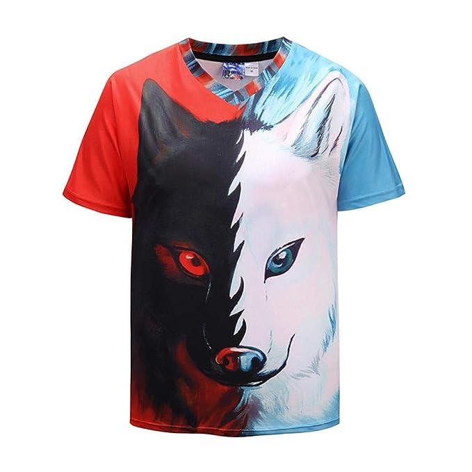 Wehor 3D Camisetas para Hombre Manga Corta Casual Camisa de Polo Algodón Suave Secado Rapido Sudadera Lobo De Dos Caras S-XXL: Amazon.es: Ropa y accesorios