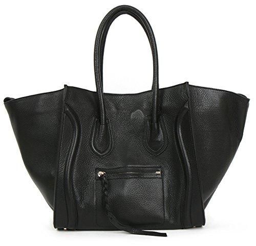 Lux Luggage Shopper Bag In Black Genuine Leather Womens Korea Handbag 160803
