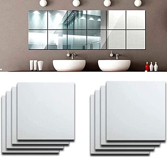 15x15cm Self-Adhesive Square Mirror Tile Wall Sticker DIY Wall Decal Home Decor