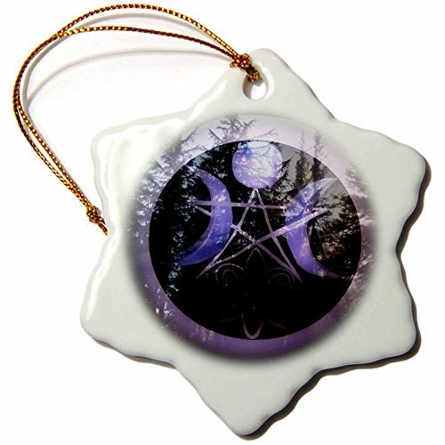 WhiteOaks Photography and Artwork - Halloween - Samhain Design is my yearly creation designed for a pagan holiday - 3 inch Snowflake Porcelain Ornament (245653_1)
