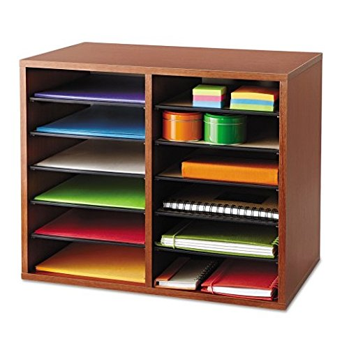 Safco - Fiberboard Literature Sorter 12 Sections 19 5/8 X 11 7/8 X 16 1/8 Cherry ''Product Category: Desk Accessories & Workspace Organizers/Sorters''