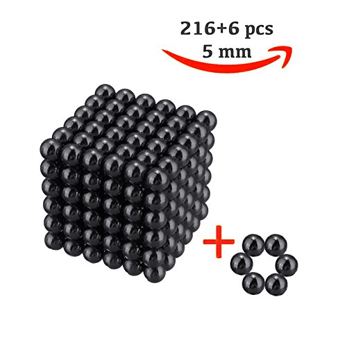 216 magic Balls Sculpture Toy - 216 Pieces 5mm Large Size - Includes Carrying Bag and Plastic Card Separator - (5mm, Black)