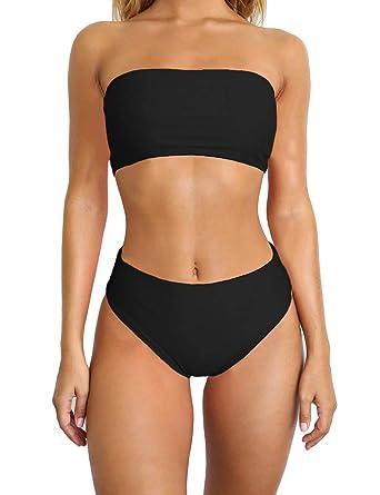 34ab527509 Amazon.com  SEBOWEL Women Sexy Strapless Tube Bandeau High Waisted Bikini  Set Bathing Suit Swimsuit  Clothing