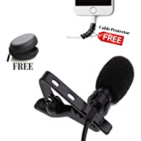 FreshDcart Omnidirectional Lavalier Lapel Coller Microphone Kit with Voice Recording Filter Mic for Recording Singing Youtube on Smartphones (Black)