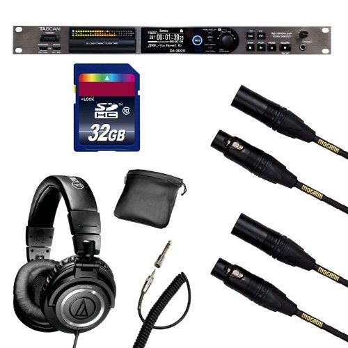 Tascam DA-3000 DSD Recorder w/ Mogami Cables, Audio-Technica ATH-M50, 32GB SD Card Bundle