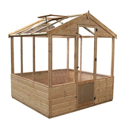 8x6 Evesham Wooden Greenhouse - Shiplap T&G, Shatterproof Glazing - by Waltons