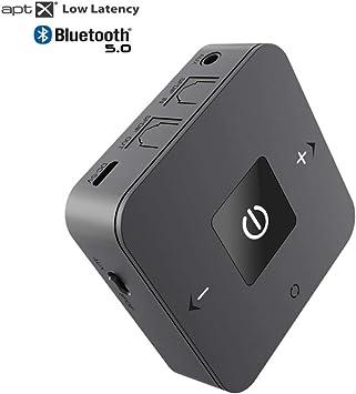 DIGMALL Receptor inalámbrico de transmisor Bluetooth, de Largo Alcance para audífonos de PC con TV estéreo para el hogar Enlace Dual con Aptx de Baja latencia, Optcal Digital / AUX / RCA: