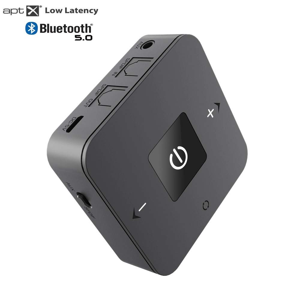 DIGMALL Wireless Bluetooth 5.0 Transmitter Receiver, Long Range for PC Headphones with Home Stereo TV Dual Link with Low Latency Aptx, Optcal Digital / AUX / RCA by DIGMALL