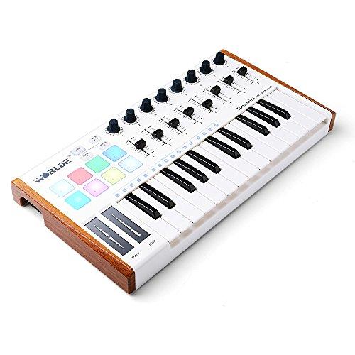 Worlde 25 Key USB Portable Tuna Mini MIDI Keyboard MIDI Controller (8 Knobs/8 Pads/8 Faders) with Wood Imitation Rim, Pedal Interface, for Mac and PC by Vangoa