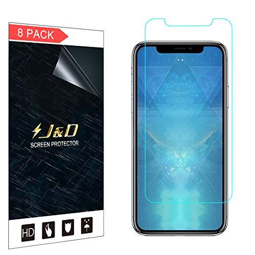 合成スツール音J&D 8パック iPhone Xs Max 6.5液晶保護フィルム、Apple iPhone Xs Max 6.5 inchのプレミアムHD液晶保護フィルム