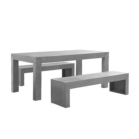 Tavoli Da Esterno In Cemento.Beliani Mobili Da Giardino In Cemento Tavolo Mobili Con Due