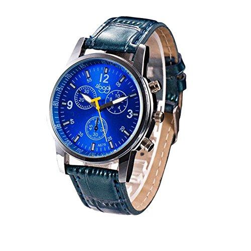 YANG-YI Luxury Fashion Crocodile Faux Leather Analog Round Watch Wrist Watches Men (Blue)