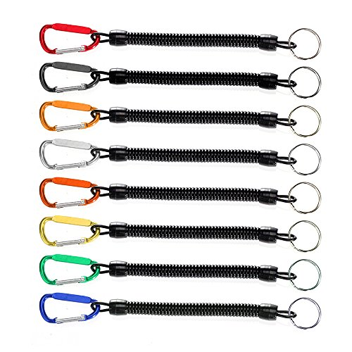Sopito 8PCS Fishing Lanyards Multi-Colored Safety Boating Rope Retractable Wire Coiled Tether with Carabiner Lip Grips Tackle Fish Tools … For Sale