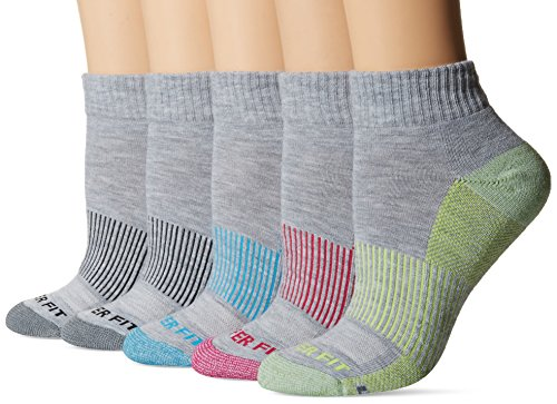 Quarter Gray Socks (Copper Fit Women's 5PK Quarter Length Socks, Light Gray Heather, 9/11)