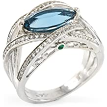 Glamouresq Sterling Silver 12mm Natural Blue Topaz & Round Cut Emerald and White Topaz Women's Ring, Size 6.5