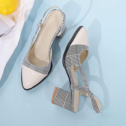 F Large Size Women Sandals, Baotou Lattice Comfortable mid-Heel Sandals