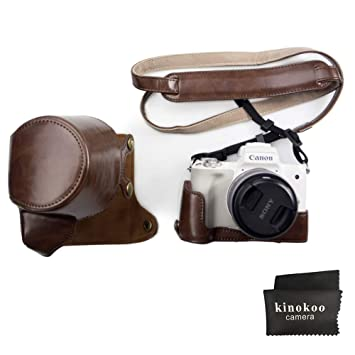 White MegaGear MG1449 Canon EOS M50 Ever Ready Leather Camera Case and Strap 15-45mm