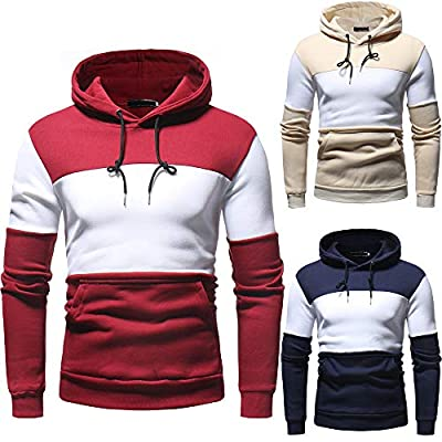 POHOK Clearance Deals ! Mens' Autum Winter Long Sleeve Patchwork Fleece Hooded Sweatshirt Outwear Tops