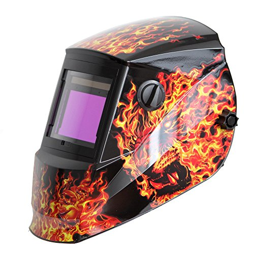 (Antra AH6-660-6104 Solar Power Auto Darkening Welding Helmet with AntFi X60-6 Wide Shade Range 4/5-9/9-13 with Grinding Feature Extra Lens Covers Good for TIG MIG MMA Plasma)