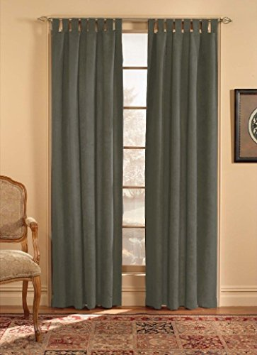 CHF & You Ultra Suede Tab Top Window Curtain Panel, Brown, 50-Inch X 95-Inch