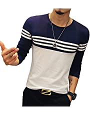 LOGEEYAR Mens Slim Fitted Long-Sleeve Tee Shirts Cotton Contrast Color Stitching T-Shirt Fashion Top