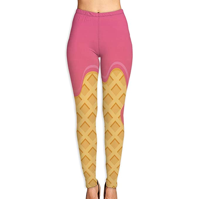 4d2571439d8cf3 Amazon.com: Ice Cream Cone Women Sports Gym Yoga Pants Workout Mid Waist  Running Fitness: Clothing