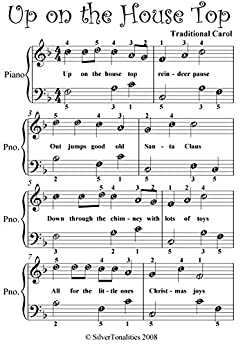 Up on the house top easiest piano sheet music english for English house music