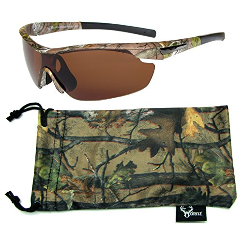 Hornz Brown Forrest Camouflage Polarized Sunglasses for Men Wrap Around Sport Frame & Free Matching Microfiber Pouch - Brown Camo Frame - Amber Lens (Free Amber Lens)