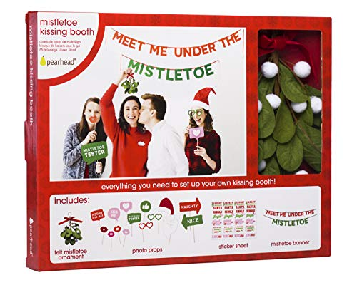Pearhead Mistletoe Kissing Booth, Everything You Need to Set Up Your Own Kissing Photo Booth! Includes Felt Mistletoe,