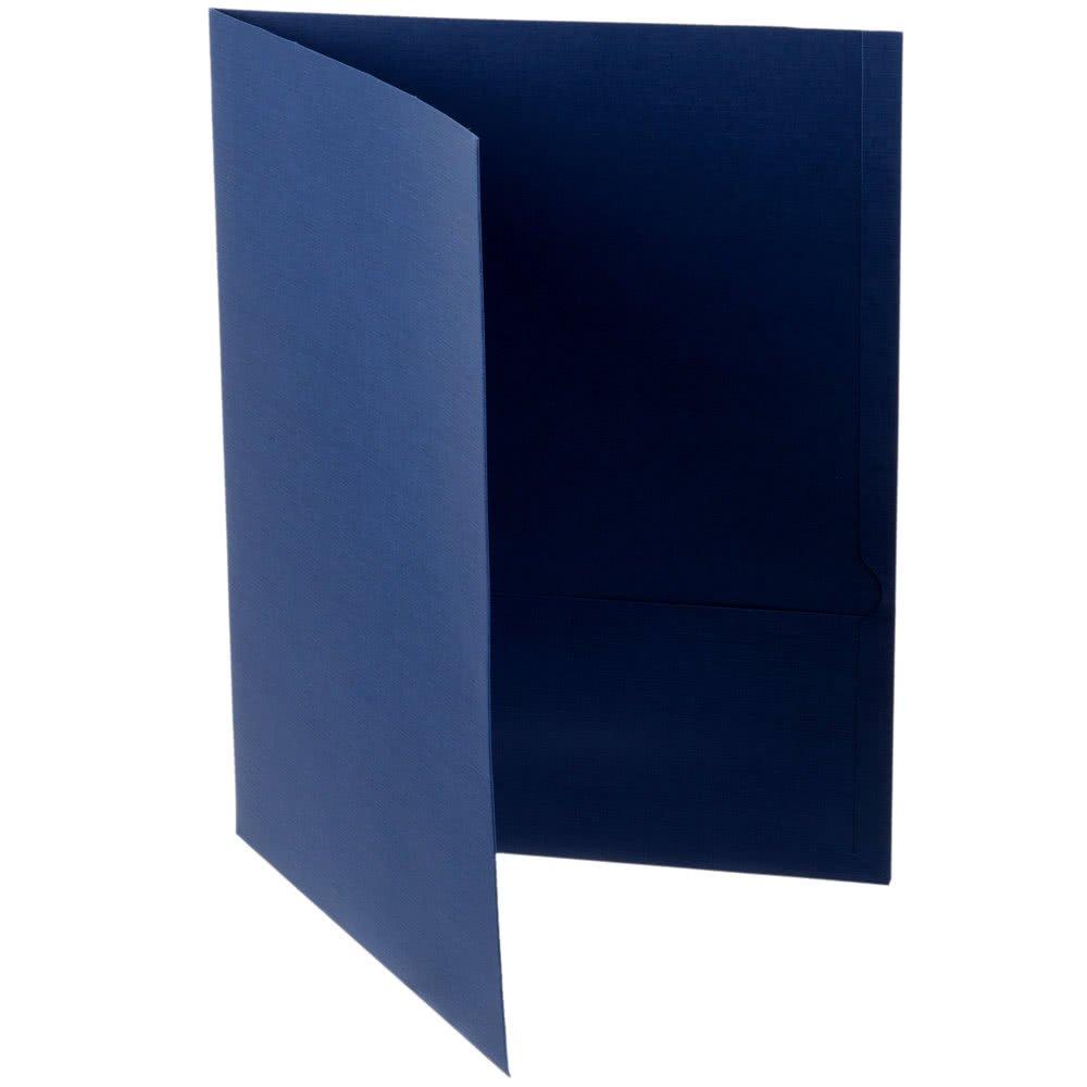 TableTop King 53443 Letter Size 2-Pocket Linen Finish Paper Pocket Folder, Navy Blue - 25/Box