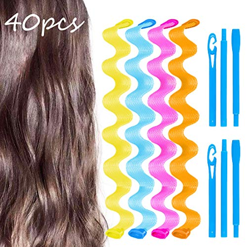 40 Pcs 20 Inch Wave Curl Formers, Smilco Heatless Hair Curler for Medium to Long Hair, Hair Style Tools Set with 2 Styling Hooks, Diy Magic Spiral Ringlets Rollers for Women and Girls (Roller Set Hairstyles For Medium Length Hair)