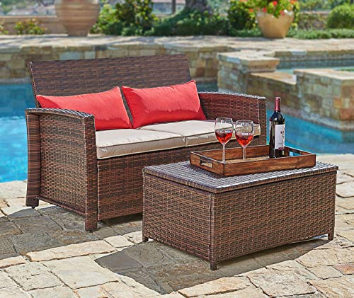 Wicker Loveseat Outdoor Patio - Suncrown Outdoor Furniture Wicker Love-seat with Coffee Table (2-Piece Set) Built-in Storage Bin | Comfortable, All-Weather Cushions | Patio, Backyard, Porch, Garden, Poolside