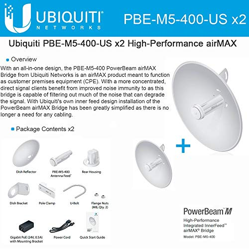 (Ubiquiti PBE-M5-400 (2-pack) PowerBeam M5 25dBi 5GHz AirMAX CPE 400mm 150+ Mbps)