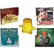 """Children's Fun & Educational Gift Bundle - Ages 6-12 [5 Piece] - Classic Wood Folding Chess Set Game - Star Wars Episode I Yoda Shaped 100 Piece Puzzle - Neopets Chia Plush 6"""" - Snow White and the"""