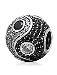 Yin Yang Crystal 925 Sterling Silver Bead Fits European Brand Charms