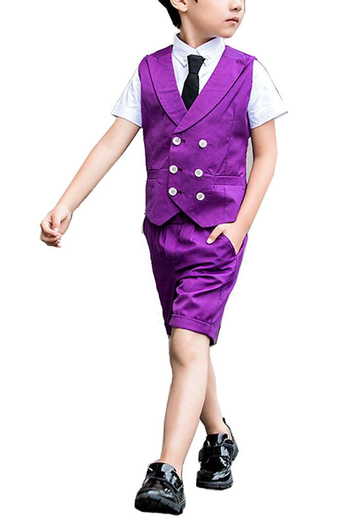 YUFAN Boys Summer Suits 2 Pieces Double Breasted Black Purple Vest and Shorts (Purple, 2T)