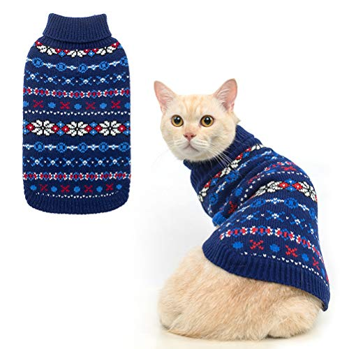 BINGPET Snowflake Turtleneck Sweater for Cats & Small Dogs - Cute Pullover Pet Puppy Kitty Knitwear Cold Weather Clothes Outfit