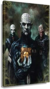 Hellraiser Horror Movie Poster Pictures for Wall Canvas Art for Kitchen Pictures for Bathrooms Painting Decor Bedroom Giclee Print Artwork Hallway Pics Rectangular Painting Decorations for Home (20x30inch(50x75cm),Framed)