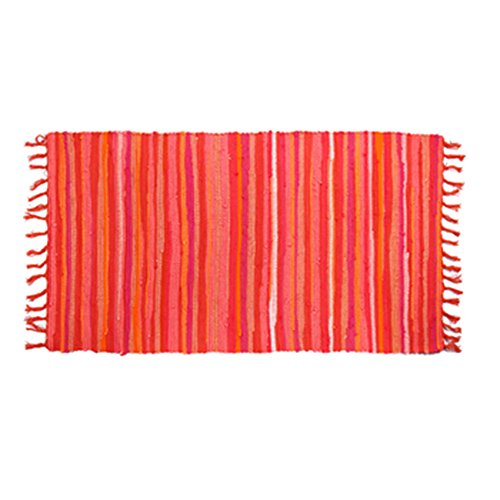 OJIA Cotton Reversible Rag Rug Hand Woven Multi Color Striped Chindi Area Rug Entryway For Laundry Room Kitchen Bathroom Bedroom Dorm (2' x 3', (Orange Striped Rug)