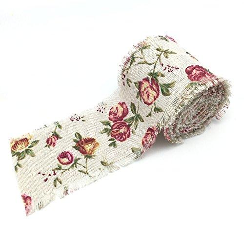 FQTANJU 3Yards Frayed Edge Vintage Rose Burlap Ribbon. ()