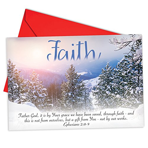12 Boxed 'Holiday Devotions Faith' Christmas Cards w/ Envelopes 4.63 x 6.75 inch, Set of Snowy Landscapes and Scripture Verses Cards, Winter Scenes, Inspiring Bible Quotes Holiday Notes B6661AXSG