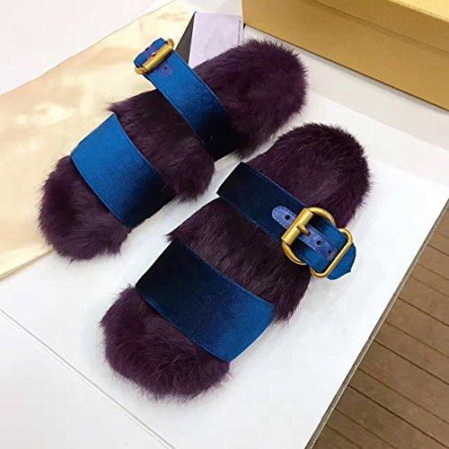 Cálido Laxba Suaves Invierno Purple36 De Invierno Antideslizantes Calientes Zapatos Habitación Zapatillas HnSwd1qSAx