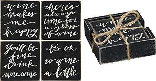(Primitives By Kathy Wine Theme Square Wooden Costers, Set of 4 with Wood Holder)