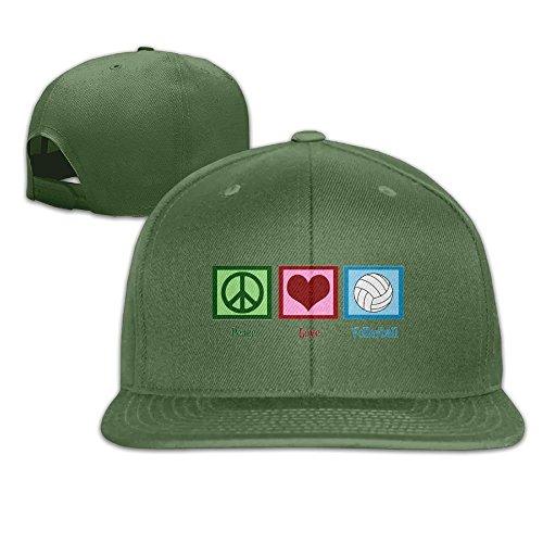 Wjdkhjij Peace Love Volleyball Fashion Flat Baseball Cap Adjustable Flat Bill Hat ()