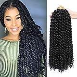 Passion Twist Hair 18 inch 7 Pcs Passion Twist Braiding Hair Water Wave Hair for Passion Twist Crochet Braids Crochet Hair Extensions (#1B)