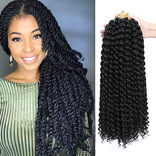 Passion Twist Hair 18 inch 7 Pcs Passion Twist Braiding Hair Water Wave Hair for Passion Twist Crochet Braids Crochet Hair Extensions (#1B)