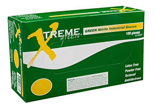 AMMEX - XNGPF46100 - Nitrile Gloves - Xtreme - Disposable, Powder Free, Industrial, 4 mil, Large, Green (Case of 1000) by Ammex