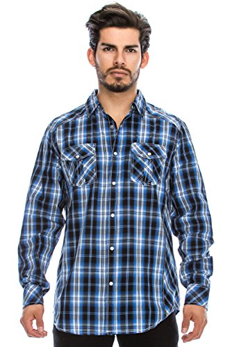 Hipster Western Plaid Long Sleeve Pearl Snap Shirt  Checkered Shirts