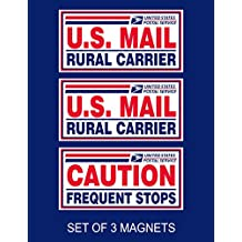 """Set of 3 U.S. Mail Delivery Magnetic Signs Rural Delivery Carrier Magnet 6""""X12"""" USPS Rural Carrier and Frequent Stops"""